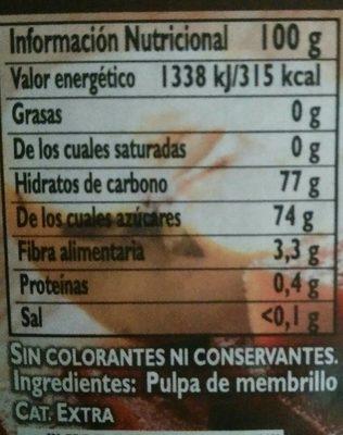 Membrillo natural 100% sin gluten envase 250 g - Nährwertangaben