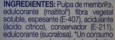 Dulce de membrillo sin azúcares añadidos tarrina - Ingredientes - es