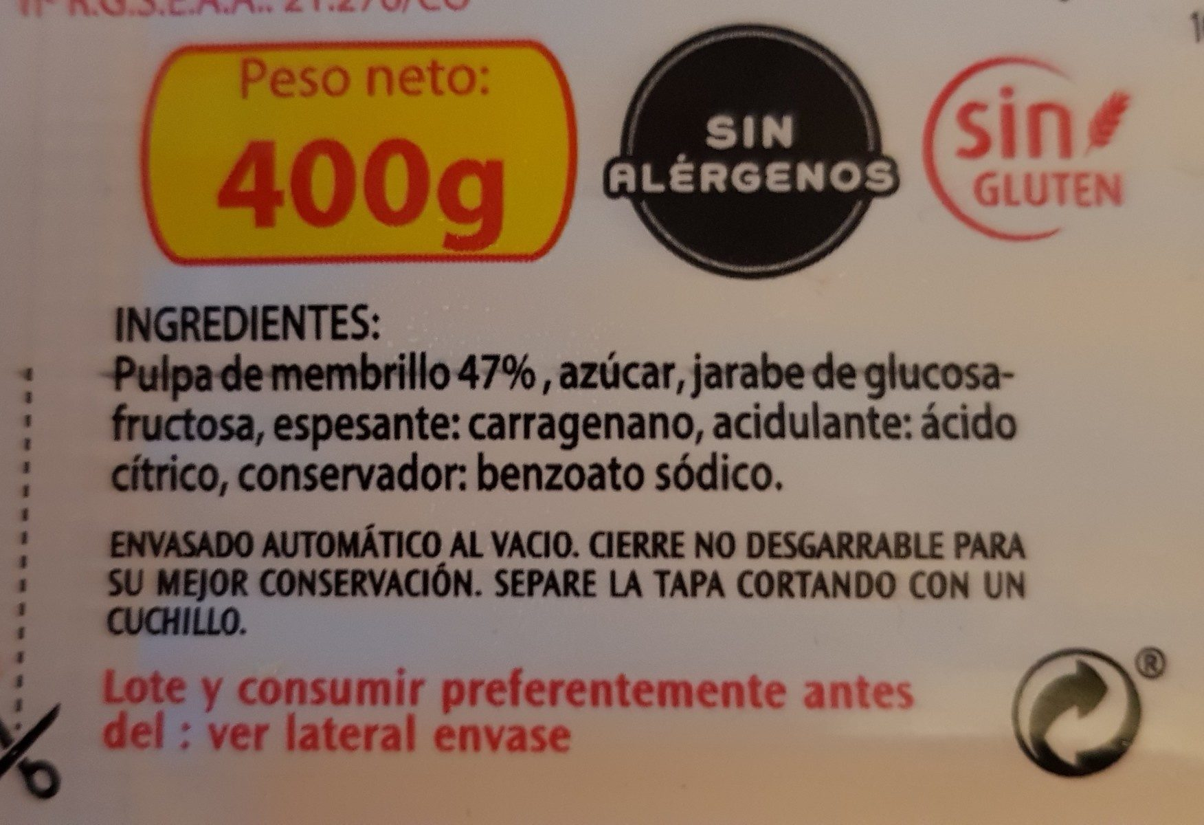 Dulce de membrillo primera pack 2 estuche 200 g - Ingredientes - fr