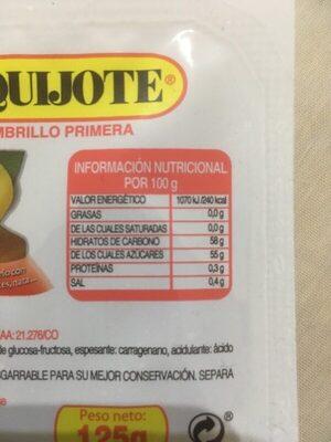 Dulce de membrillo - Nährwertangaben