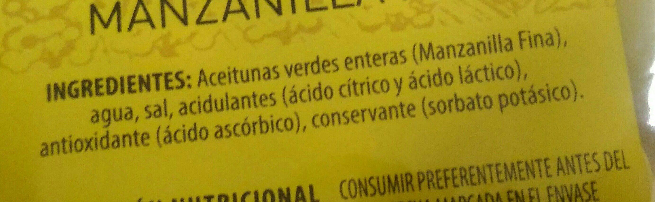 Aceitunas manzanilla con hueso - Ingrédients - fr