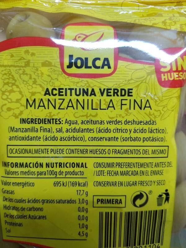 Aceituna manzanilla sin hueso - Información nutricional