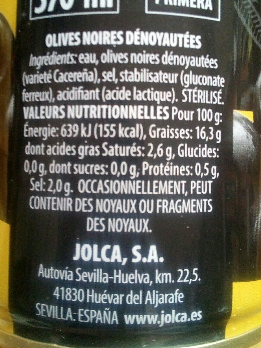 Aceitunas negras - Ingrédients - fr