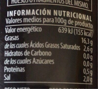 Aceitunas negras - Informations nutritionnelles - fr