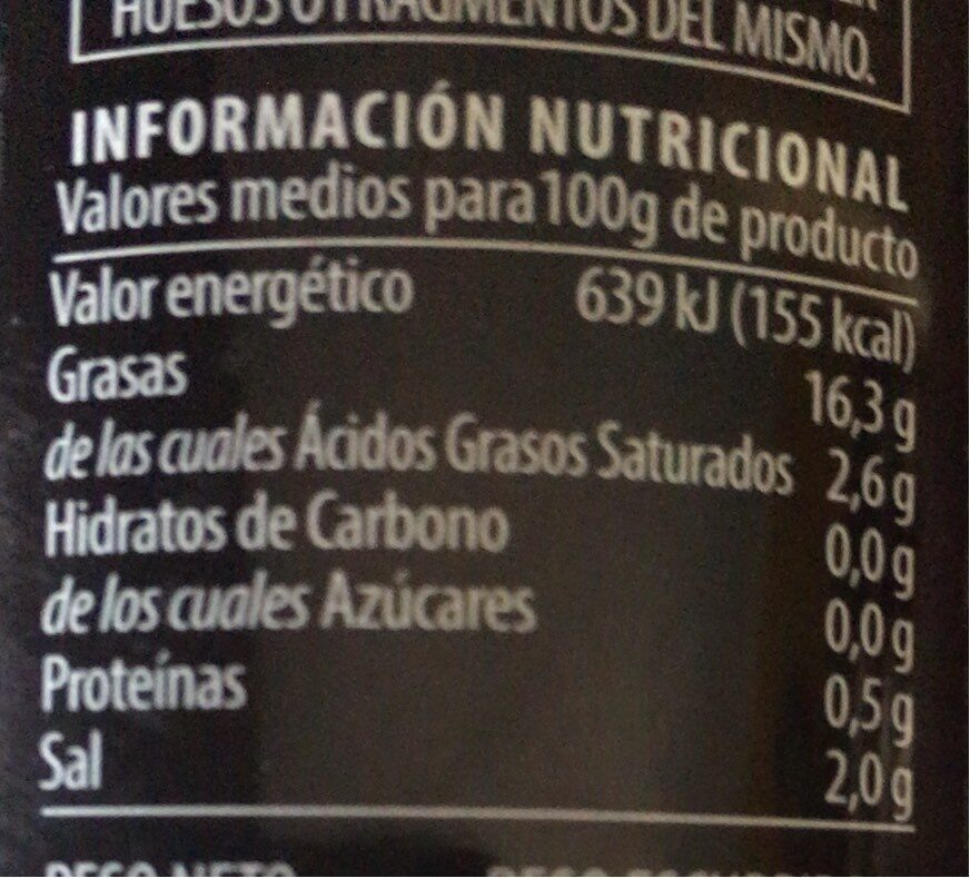 Aceitunas negras - Nutrition facts - fr