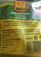 Aceituna verde gordal con hueso - Nutrition facts - es