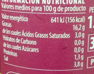 Aceitunas verdes rellenas de anchoa - Nutrition facts - fr