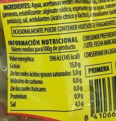 Aceituna verde manzanilla rellena de pimiento - Informació nutricional - es