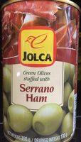 Green olives stuffed with serrano ham - Produit - fr