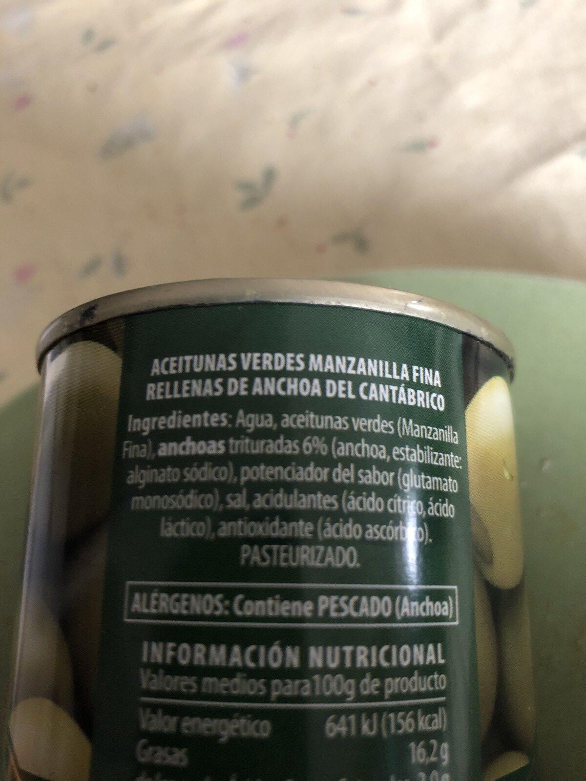 Aceitunas verdes rellenas de anchoa del Cantábrico - Ingrédients - fr