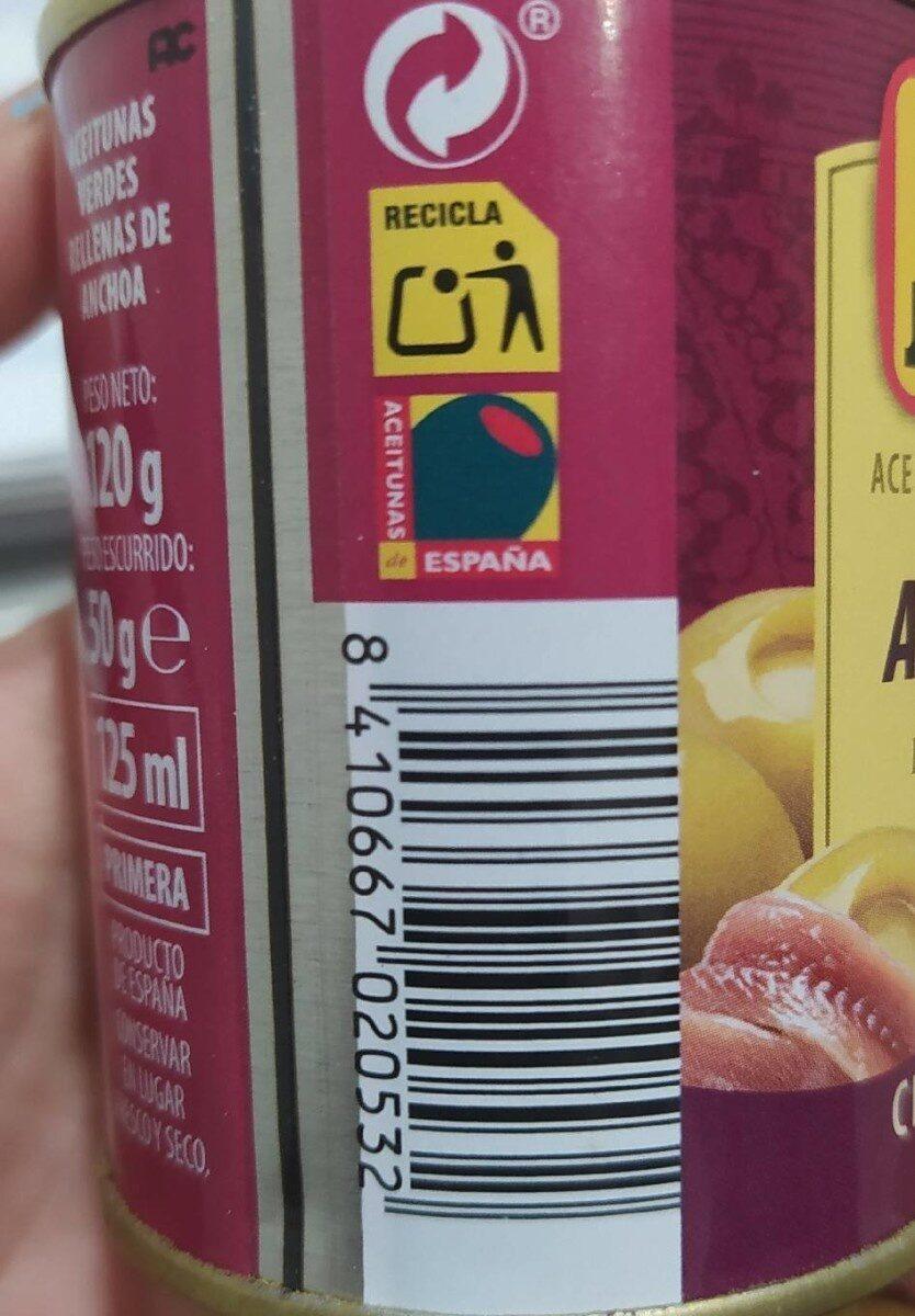 Aceitunas rellenas anchoa - Informations nutritionnelles - es