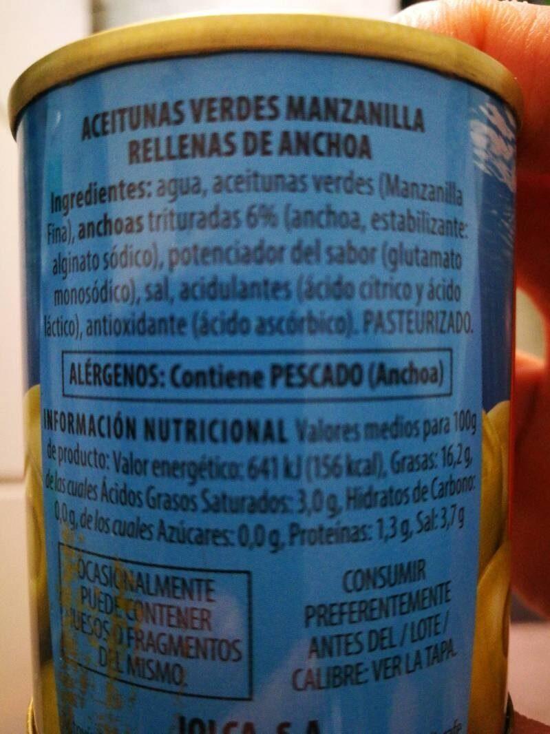 Aceitunas rellenas de anchoa - Ingredientes