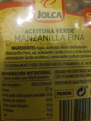 Aceituna verde - Ingrédients - es