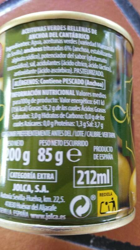 Aceitunas rellenas de anchoa del cantábrico - Nutrition facts - es
