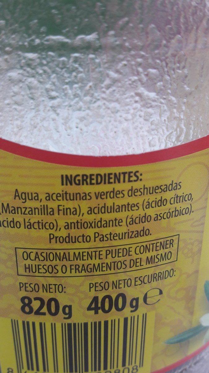 Aceituna Deshuesada - Ingrédients - fr