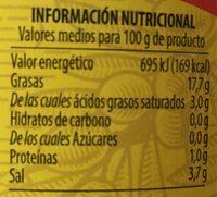 Aceituna Deshuesada - Informations nutritionnelles - fr