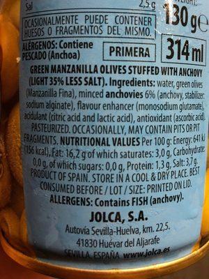 Aceitunas verdes manzanilla rellenas anchoa - Ingredients - es