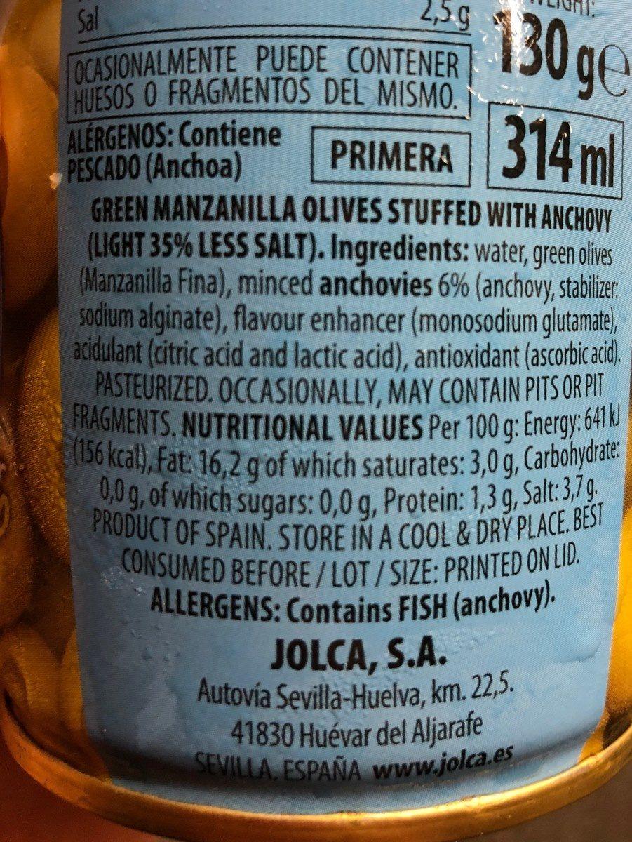 Aceitunas verdes manzanilla rellenas anchoa - Ingrédients - fr