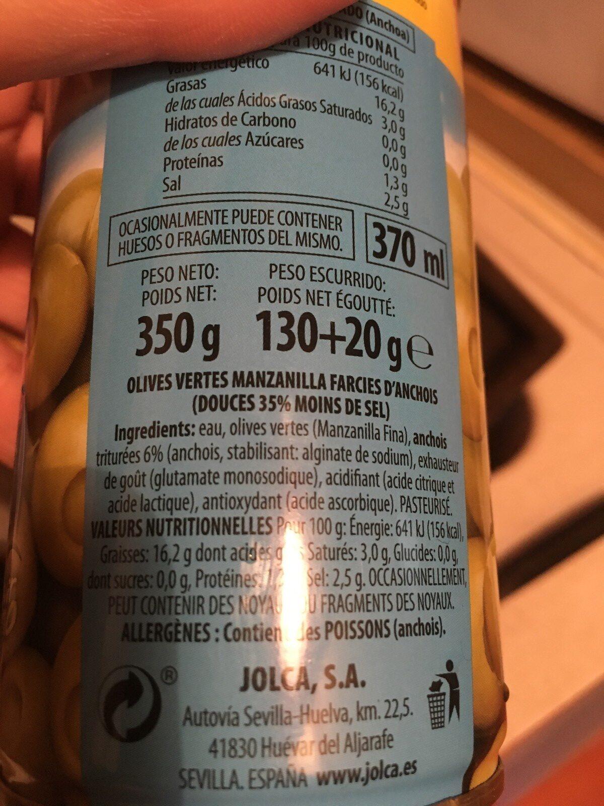 Olives vertes farcies d'anchois - Ingredients - fr