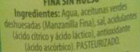 Aceitunas verdes manzanilla sin hueso - Ingredientes
