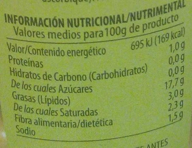 Aceitunas verdes manzanilla sin hueso - Información nutricional