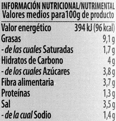 DeTapas - Olivaria - Información nutricional - es