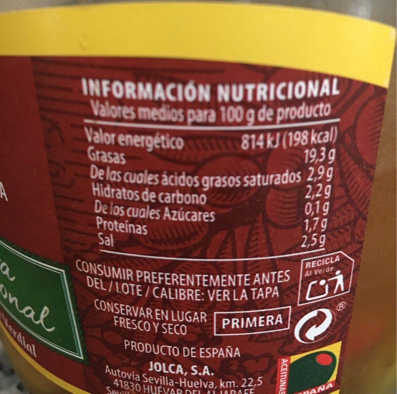 Aceituna partida aliñada variedad verdial frasco 500 g - Nutrition facts - es