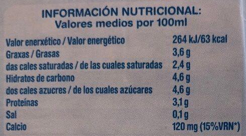 Leite Feiraco enteiro - Informació nutricional