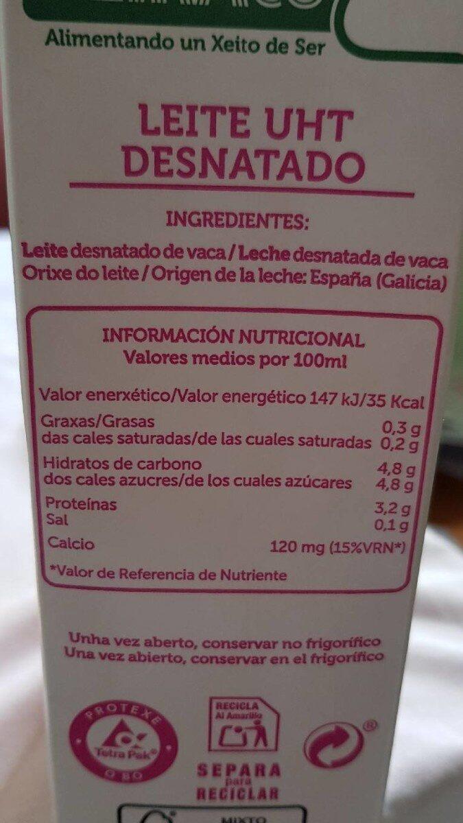 valor nutricional de la leche de vaca desnatada
