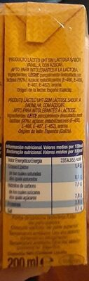 Vainilla para beber - Informació nutricional