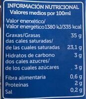 Nata para montar - Nutrition facts - es