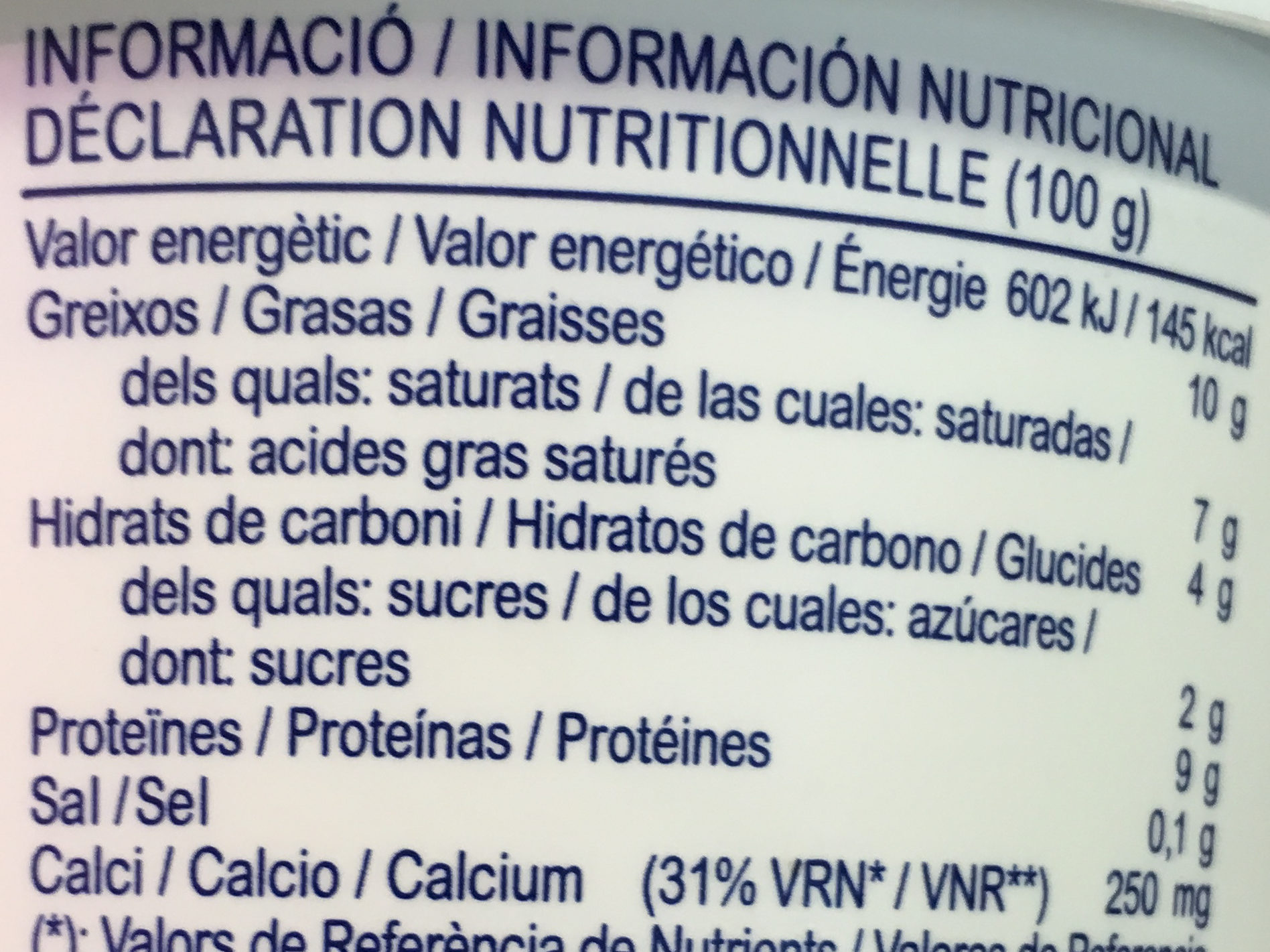 Mató del Pirineu - Informations nutritionnelles - fr