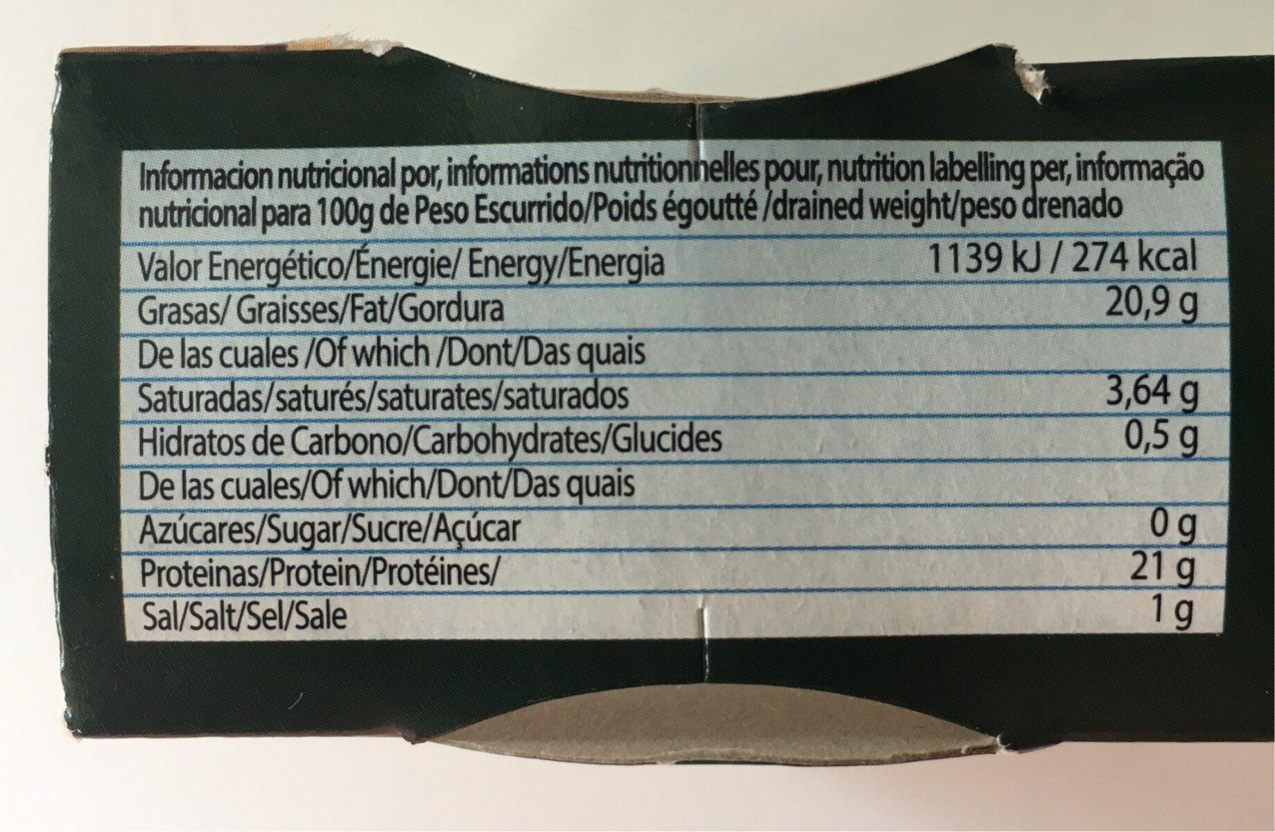 Atun claro en aceite de girasol - Información nutricional - es