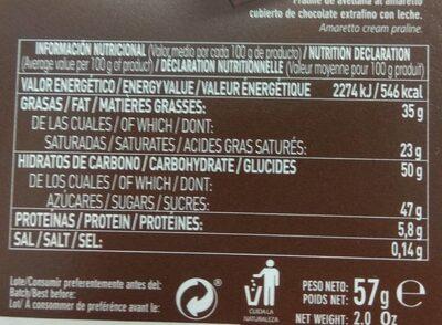 Seducción - Nutrition facts