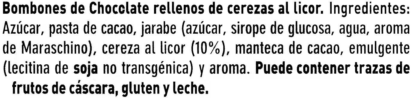 Cerezas al licor - Ingredienti - es