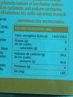 Edulcorante de mesa - Nutrition facts