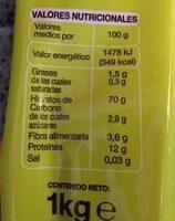 Espaguetis - Información nutricional