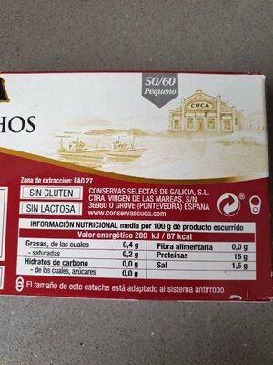 Berberechos al natural 50-60 - Nutrition facts - es