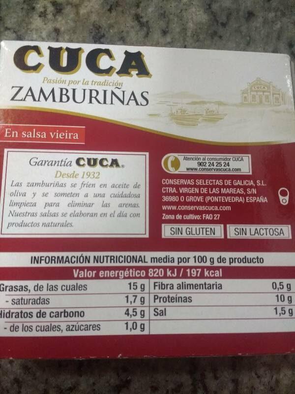 Zamburiñas - Nutrition facts - es