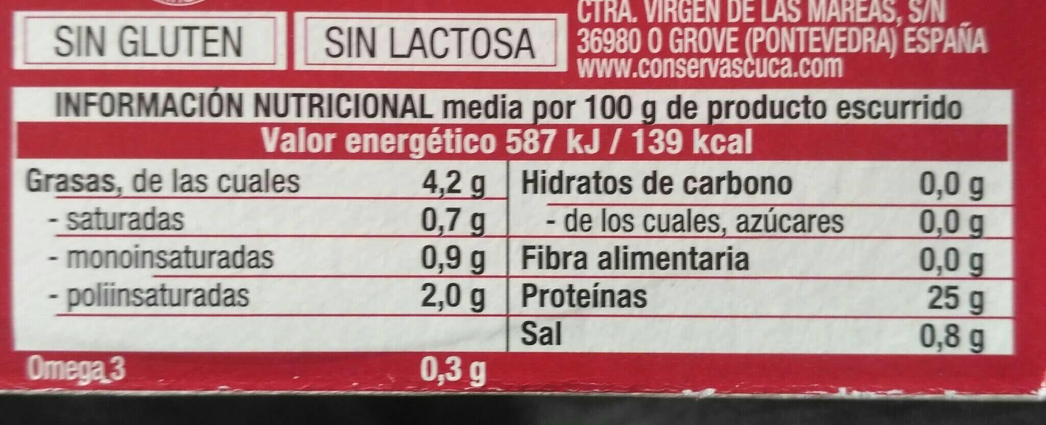Cuca atún claro en salsa catalana - Información nutricional