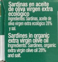 Sardinas Con Aceite De Oliva Virgen Extra Ecológico Cuca - Ingredients - fr