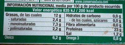 Sardinas Con Aceite De Oliva Virgen Extra Ecológico Cuca - Informació nutricional - fr