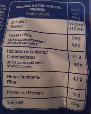 Picoteos - Información nutricional
