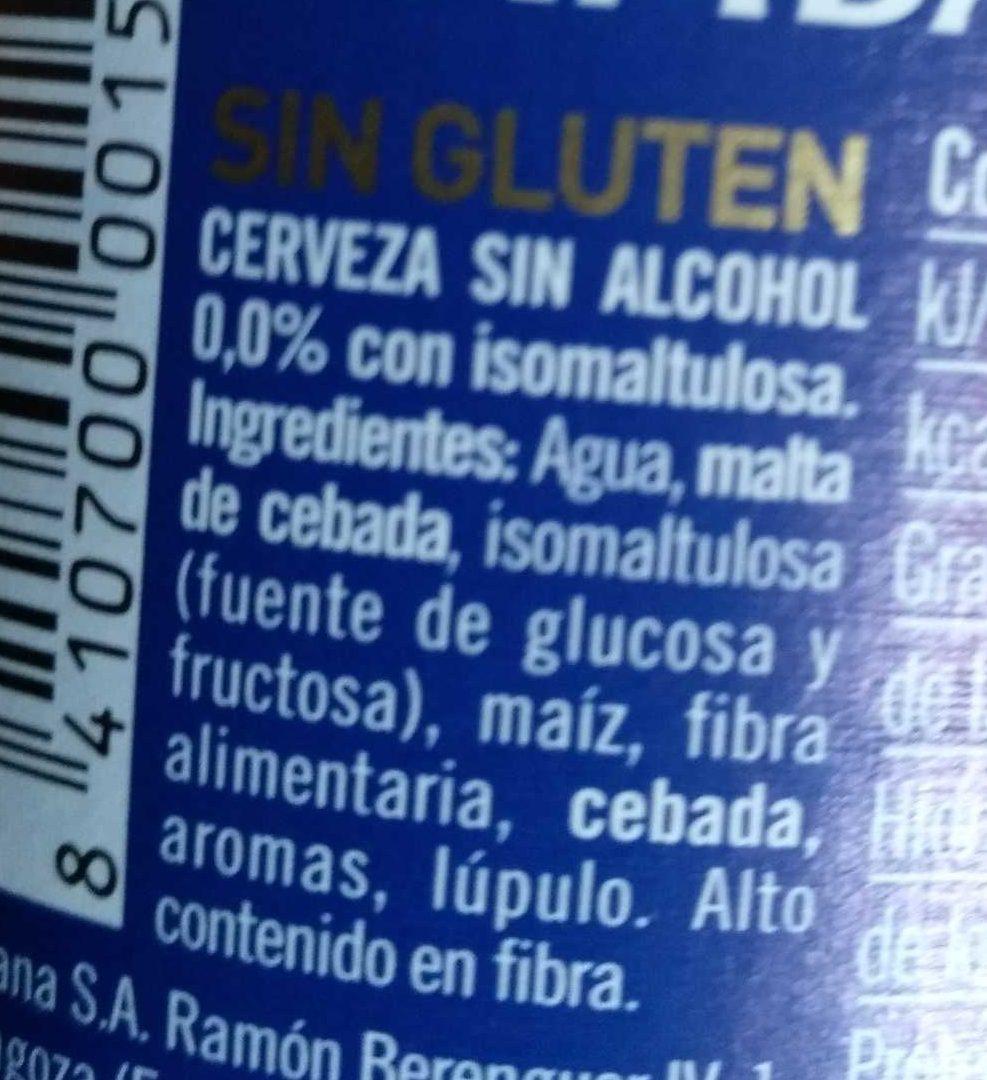 Ambar 0,0 sin gluten - Ingredientes