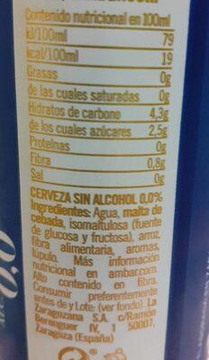 Cerveza ambar 0'0% - Voedigswaarden
