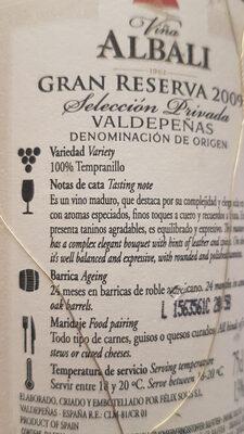 Viña Albali Gran Reserva 2009 - Ingredientes