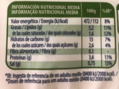 Lasaña vegetal - Nutrition facts - es