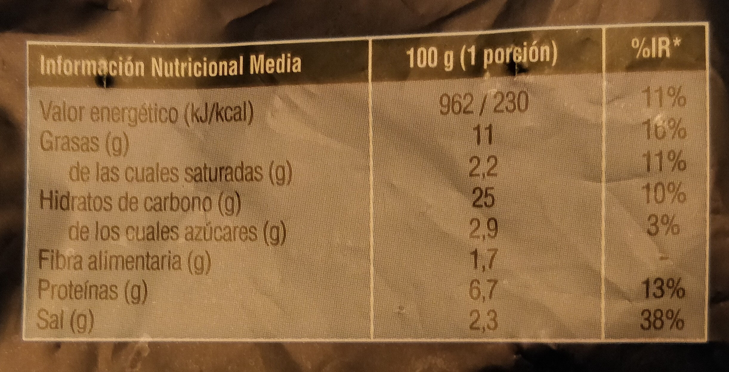 Buñuelos de bacalao - Informations nutritionnelles