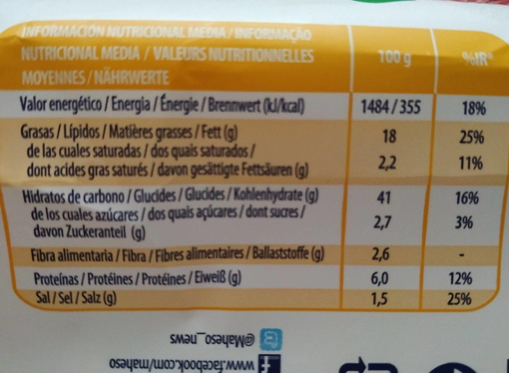 Porras prefritas - Nutrition facts - es