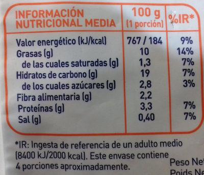 Tempura de verduras - Información nutricional - es